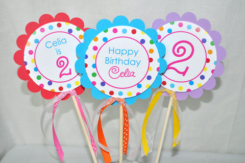 Birthday,Centerpiece,Sticks,-,Girls,1st,Colorful,Polkadots,Party,Decorations,Set,of,3,birthday centerpieces, centerpiece sticks, birthday banners, decoration, baby shower banner, 1st birthday banner, happy birthday banner, party sign, personalized party, girls birthday party, birthday banner, party decorations, girls birthday ideas, party