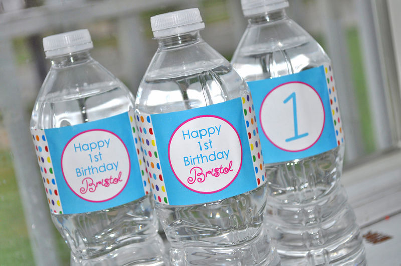 Water Bottle Labels - Girls Birthday Decorations - 1st Birthday - Colorful Polkadots - Birthday Party Decorations - Set of 10 - product images  of