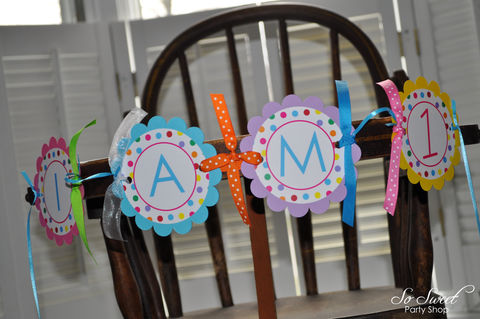 Highchair,Banner,-,I,am,1,1st,Birthday,Colorful,Polkadots,Party,Decorations,water bottle labels, drink wraps, birthday centerpieces, centerpiece sticks, birthday banners, decoration, baby shower banner, 1st birthday banner, happy birthday banner, party sign, personalized party, girls birthday party, birthday banner, party decorat