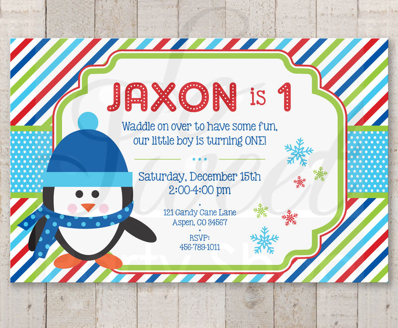 Penguin 1st Birthday Invitations Boy Penguin Birthday Party
