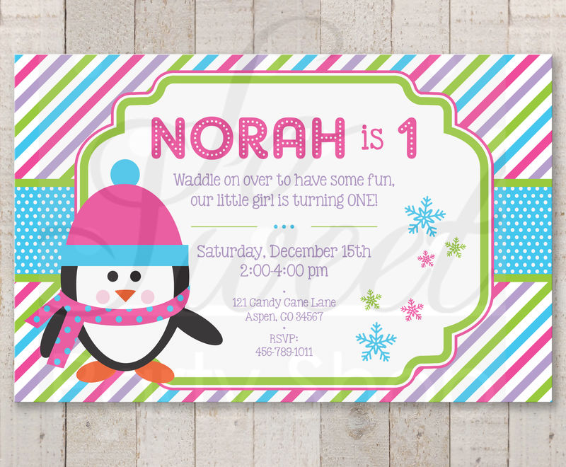 Girls Penguin 1st Birthday Invitations Girl Penguin Birthday