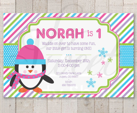 Girls,Penguin,1st,Birthday,Invitations,-,Girl,Party,Winter,Onederland,Decorations,Set,of,12,penguin birthday, penguin birthday invitations, girls penguin birthday party, penguin birthday party stickers, penguin birthday decorations, penguin party, girls penguin birthday, penguin birthday favors, favor sticker labels, party favors birthday sticke