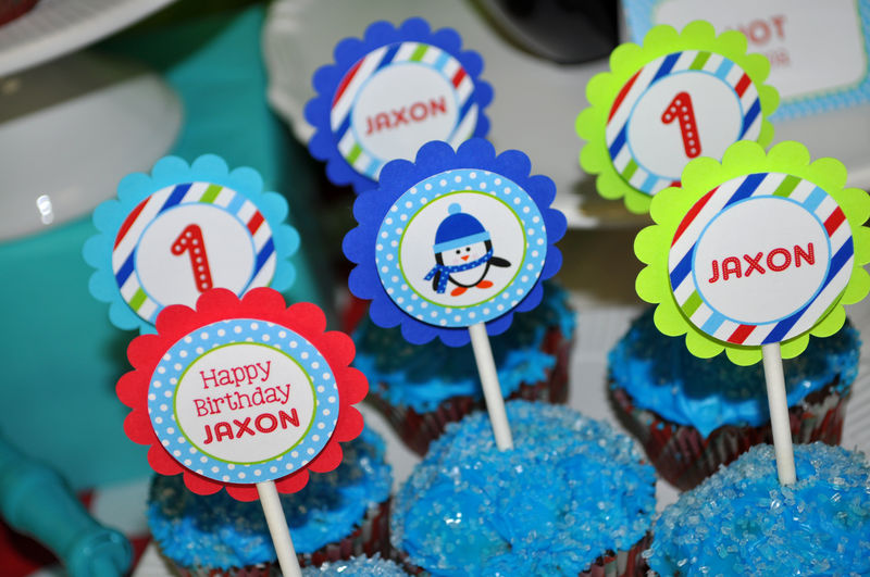 Penguin Cupcake Toppers - Winter Onederland Birthday Party Decorations - Boy Penguin Birthday Party - Set of 12 - product images  of