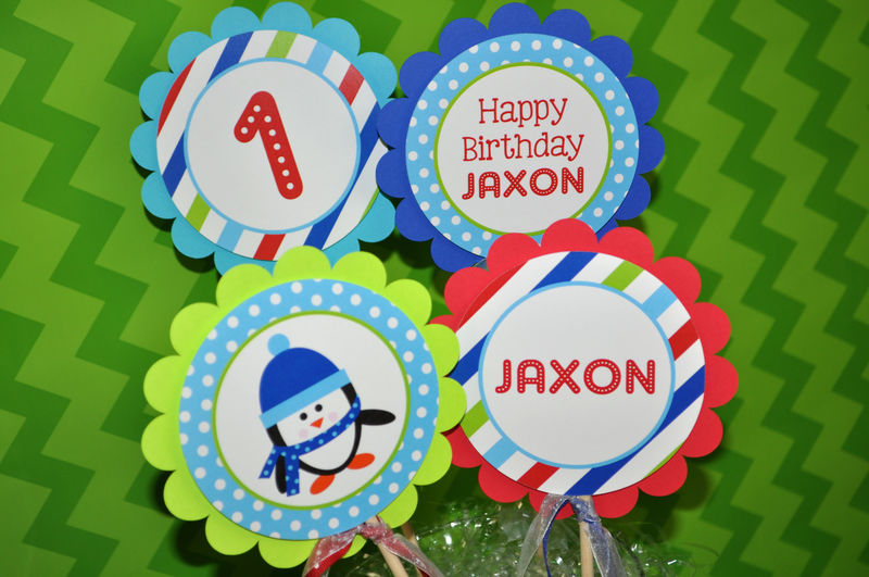 Penguin Centerpiece Sticks - Boy Penguin Birthday Party - Winter Onederland Birthday Party Decorations - Set of 4 - product images  of
