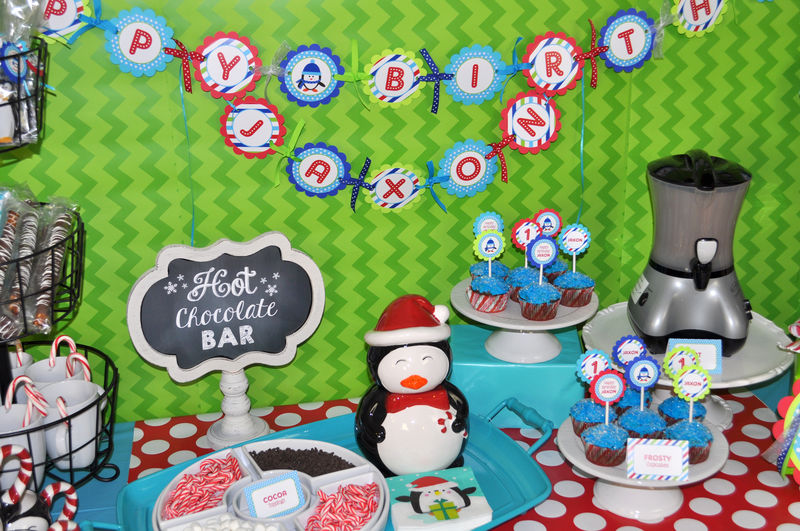 Boys Penguin Birthday Party - Penguin Birthday Door Sign - Winter Onederland Birthday Party Decorations - product images  of