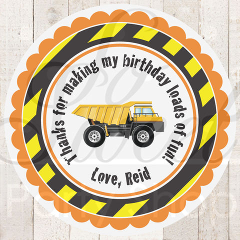 24,Construction,Birthday,Stickers,-,Party,Favor,Decorations,Dump,Truck,construction birthday, construction party decorations, construction party favors, dump truck birthday party, birthday stickers, favor stickers, party favors, birthday party favors