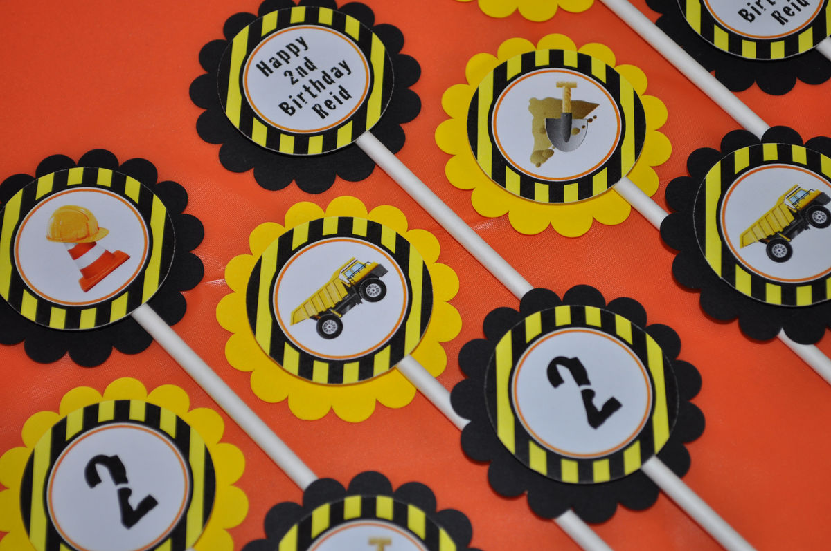 Construction Birthday Party Decorations Construction Birthday Cupcake Toppers Construction Birthday