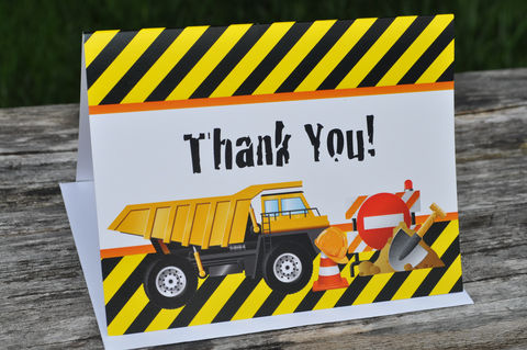 Construction,Birthday,Thank,You,Cards,-,Decorations,Notes,Set,of,10,construction birthday, construction party decorations, construction thank you cards, dump truck birthday party, birthday party thank you notes, boys 1st birthday thank yous, 1st birthday, construction birthday party thank you cards