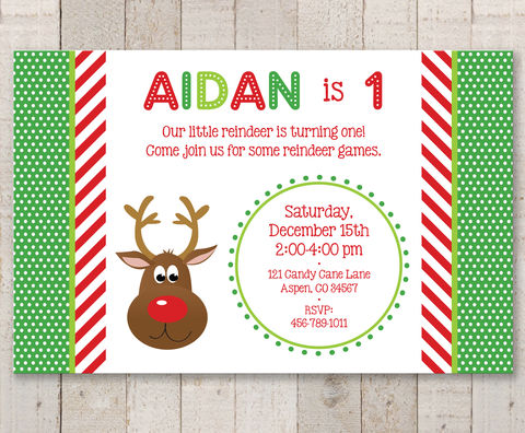Reindeer,Birthday,Party,Invitations,-,Holiday,,Winter,Decorations,Christmas,Set,of,12,1st birthday invitations, party invite, girls 1st birthday invites, birthday invitations, baby shower invites, boys 1st birthday invites, thank you cards