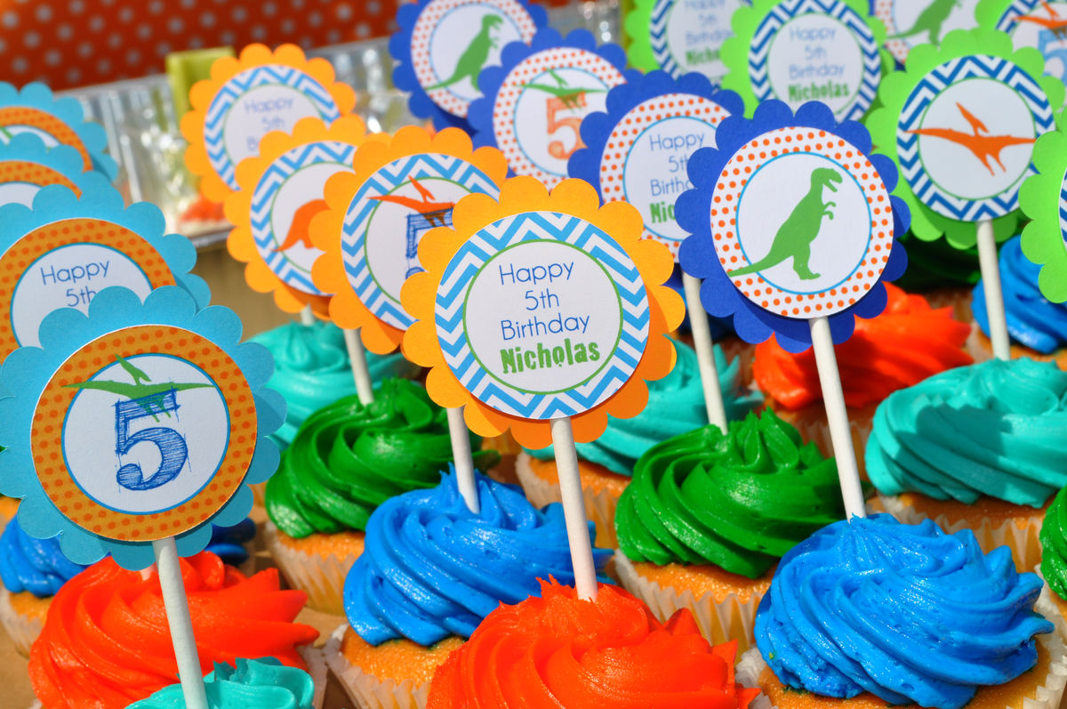 Dinosaur Birthday Cupcake Toppers