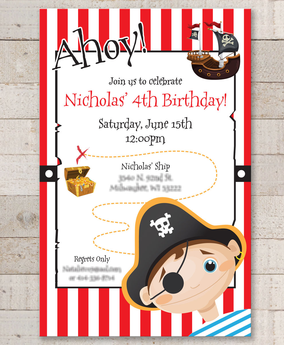 Fun Kids Pirate Birthday Party Invitations Quotes