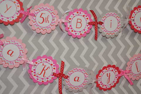 Valentine,Birthday,Banner,-,Valentine's,Day,February,Heart,Chevron,valentines day party banner, valentine birthday banner, heart party decorations, heart valentine banner, valentines day birthday party, birthday stickers, birthday banner, birthday party, 1st birthday banner