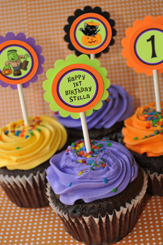 Halloween,Cupcake,Toppers,-,1st,Birthday,Party,Decorations,Trick,or,Treat,Pumpkin,Set,of,12,Halloween Birthday Cupcake Toppers, Halloween Party, cupcake toppers, party decorations, cake decorations, 1st birthday cupcake toppers, personalized cupcake toppers
