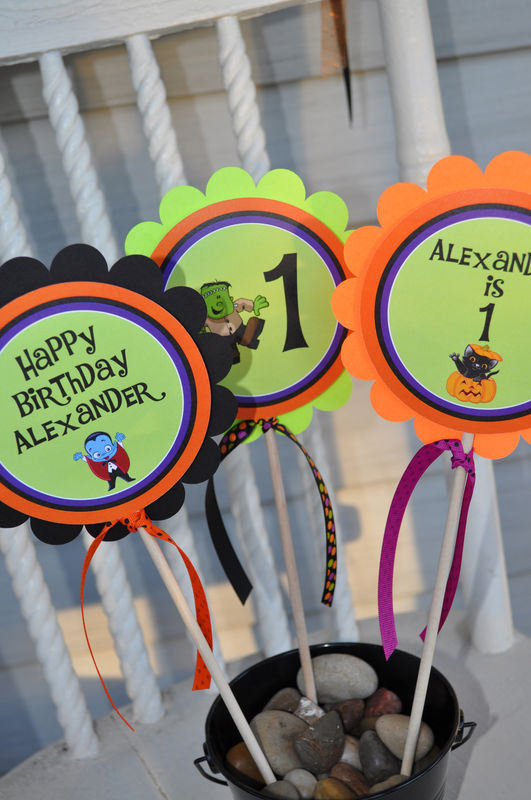 halloween cupcake toppers 1st birthday halloween birthday party decorations trick or treat - Halloween Birthday Party Decorations
