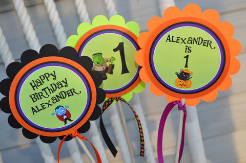 Halloween,Birthday,Centerpiece,Sticks,-,Decorations,1st,Party,Set,of,3,Halloween Birthday Centerpiece Sticks, Table Centerpieces, Halloween Party, Birthday, 1st Birthday, Halloween Party Decorations, Party Welcome Sign, So Sweet Party Shop, Birthday Party Decorations