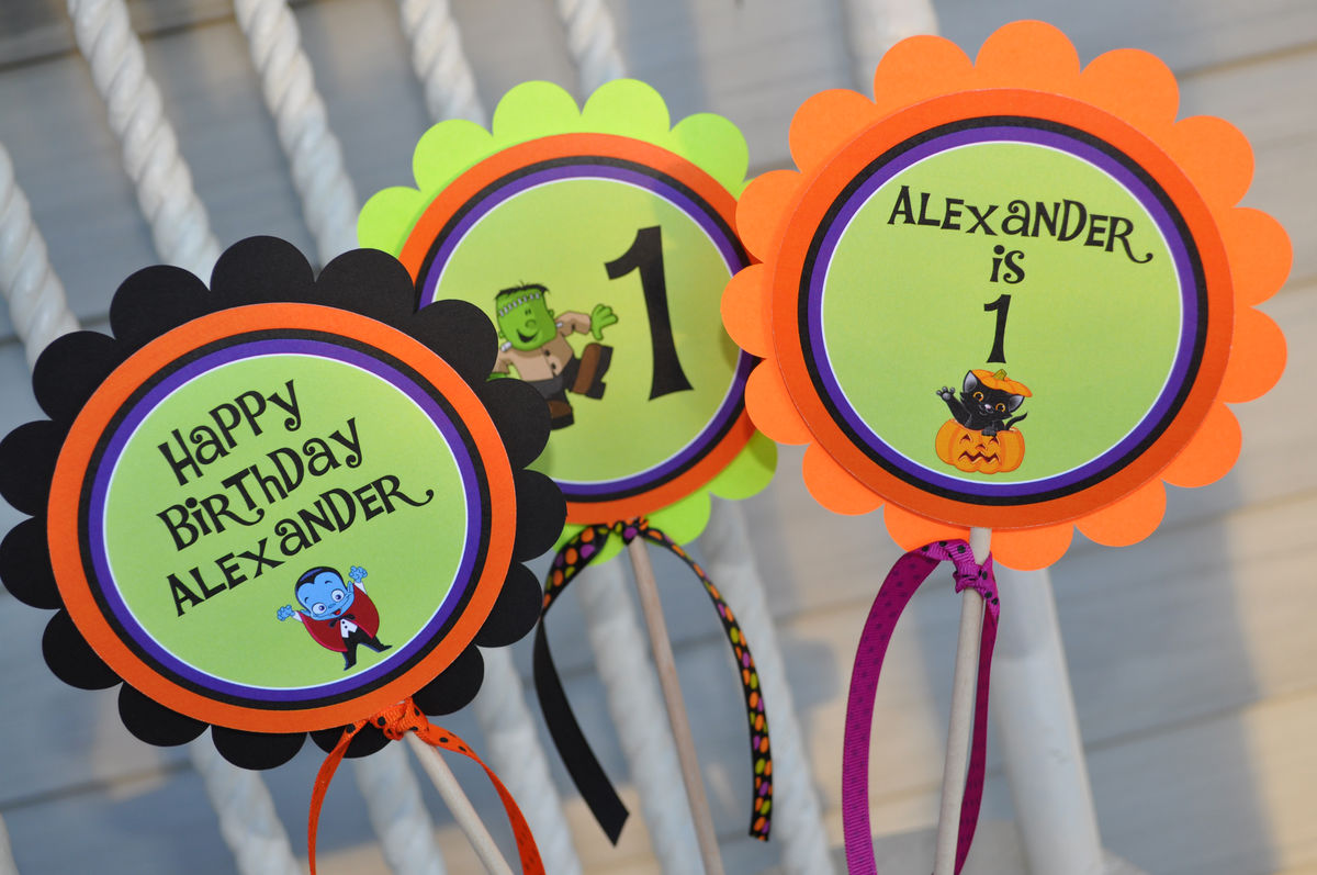 halloween birthday centerpiece sticks halloween birthday decorations 1st birthday halloween party set of 3 - Halloween Birthday Decorations