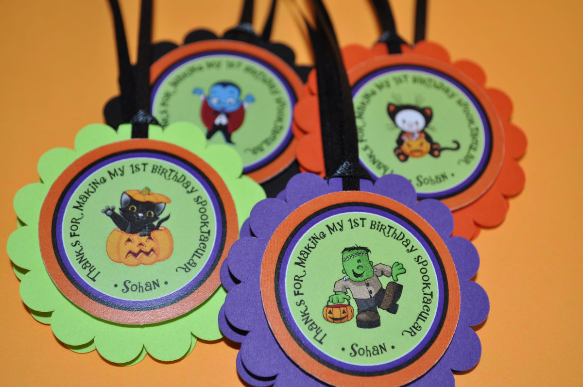 Halloween Birthday Favor Tags - Halloween Birthday Decorations 1st ...