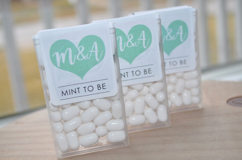 Mint To Be Tic Tac Labels, Bridal Shower Favors, Wedding Favors, Bachelorette Party, Personalized Wedding Stickers, Mint Labels, Large Heart - Set of 24 Labels - product images  of