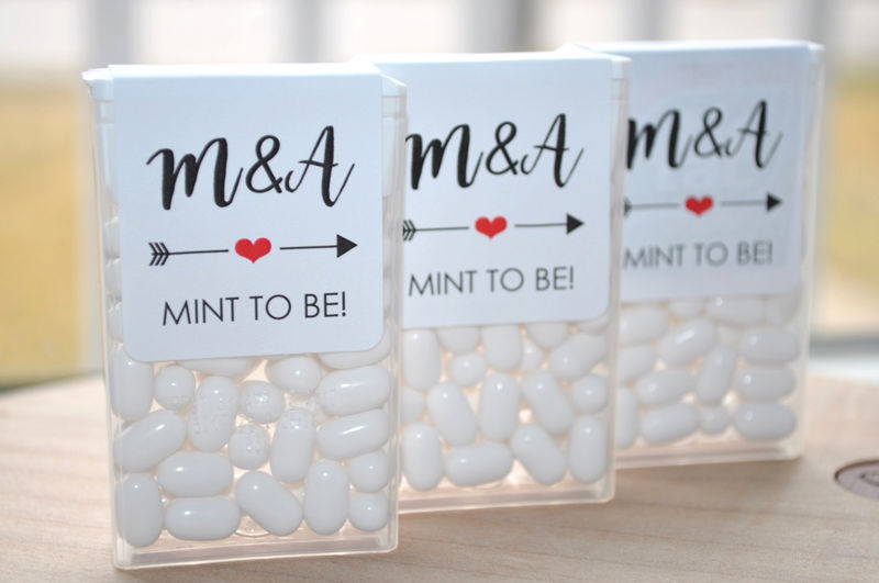 Tic Tac Labels Mint To Be, Bridal Shower Favors, Wedding Favors, Bachelorette Party, Personalized Wedding Stickers, Mint Labels, Heart and Arrow - Set of 24 Labels - product images  of