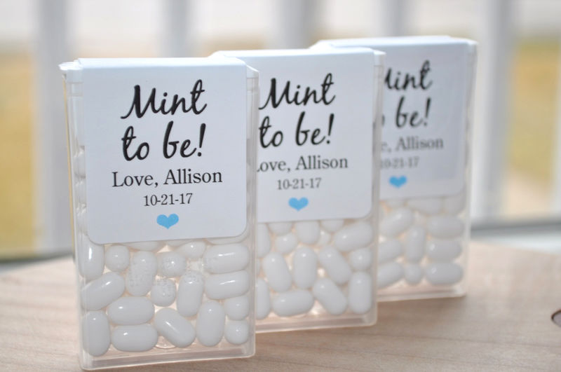 Bridal Shower Favors, Tic Tac Labels Mint To Be, Wedding Favors, Bachelorette Party, Personalized Wedding Stickers, Mint Labels - Set of 24 Labels - product images  of