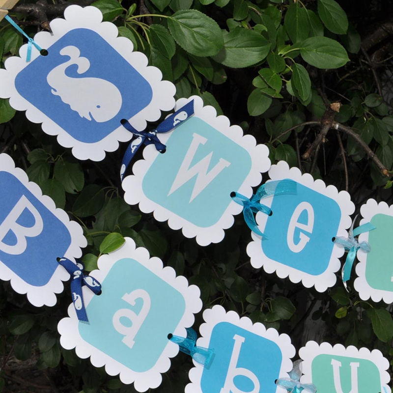 24 baby shower favor sticker labels whale theme personalized so
