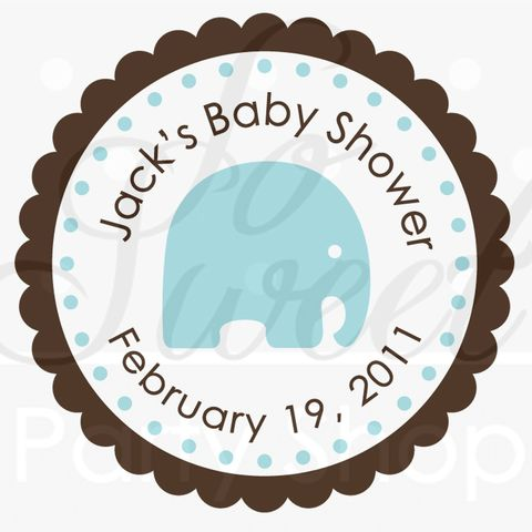 24,Boys,Baby,Shower,Favor,Sticker,Labels,-,It's,a,Boy,Elephant,Theme,Blue,and,Brown,favor sticker labels, party favors birthday stickers, party favor bag stickers, containers labels, envelope seals, party decor labels