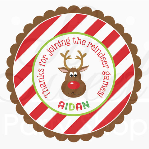 24,Reindeer,Birthday,Favor,Sticker,Labels,-,Personalized,Stickers,Holiday,Party,Favors,favor sticker labels, party favors birthday stickers, party favor bag stickers, containers labels, envelope seals, party decor labels
