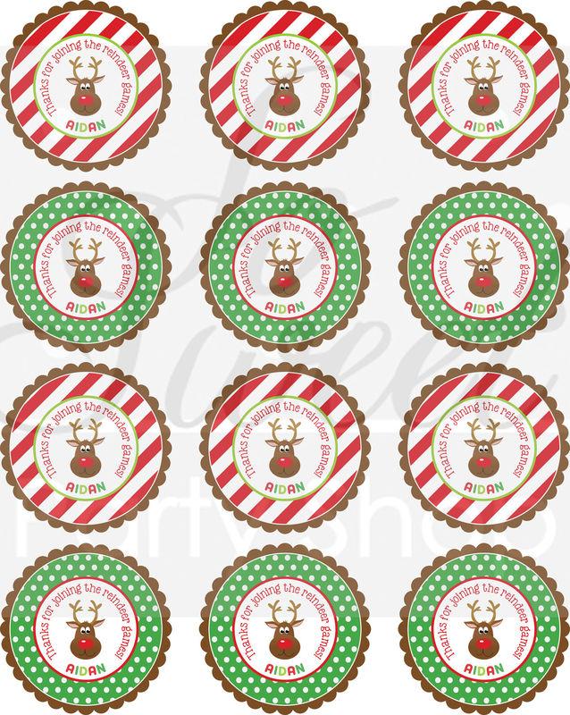 24 Reindeer Birthday Favor Sticker Labels - Personalized Birthday ...