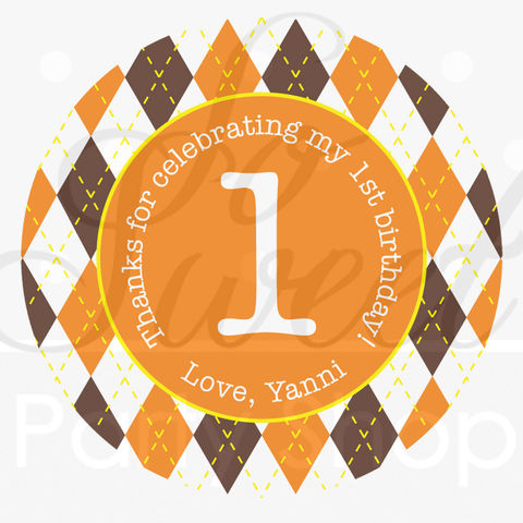 24,Argyle,Happy,Birthday,Favor,Sticker,Labels,-,Halloween,,Autumn,Party,Decorations,Fall,Colors,Brown,,Orange,,Yellow,favor sticker labels, party favors birthday stickers, party favor bag stickers, containers labels, envelope seals, party decor labels