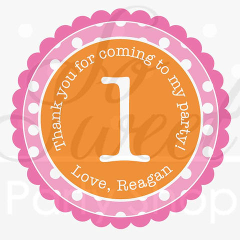 24,Birthday,Favor,Sticker,Labels,-,Girls,1st,Orange,,Pink,and,White,Polkadots,favor sticker labels, party favors birthday stickers, party favor bag stickers, containers labels, envelope seals, party decor labels