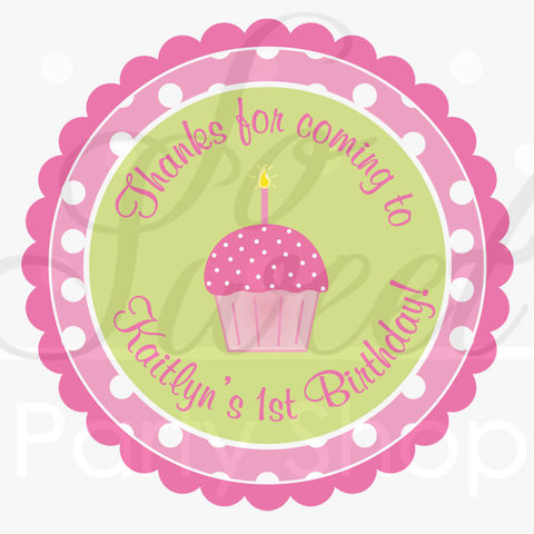 24,Birthday,Favor,Sticker,Labels,-,Girls,1st,Pink,and,Lime,Green,Polka,Dots,Cupcakes,favor sticker labels, party favors birthday stickers, party favor bag stickers, containers labels, envelope seals, party decor labels