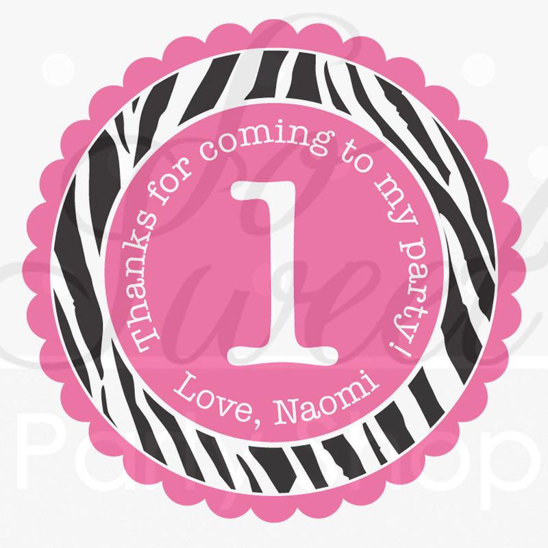 24 Birthday Favor Sticker Labels Girls 1st Birthday Party