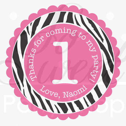 24,Birthday,Favor,Sticker,Labels,-,Girl's,1st,Party,Zebra,Stripe,Pink,,Black,and,White,Decorations,favor sticker labels, party favors birthday stickers, party favor bag stickers, containers labels, envelope seals, party decor labels