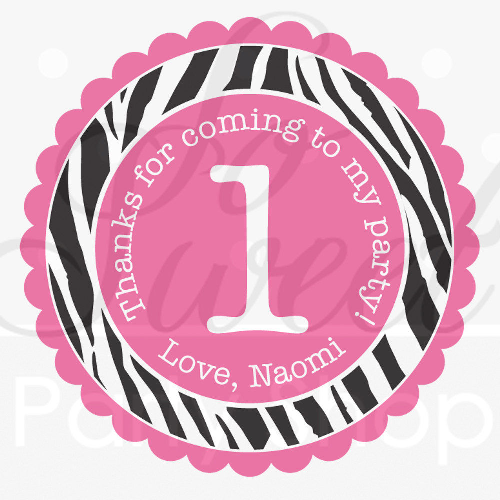 24 Birthday Favor Sticker Labels - Girls 1st Birthday Party - Zebra ...