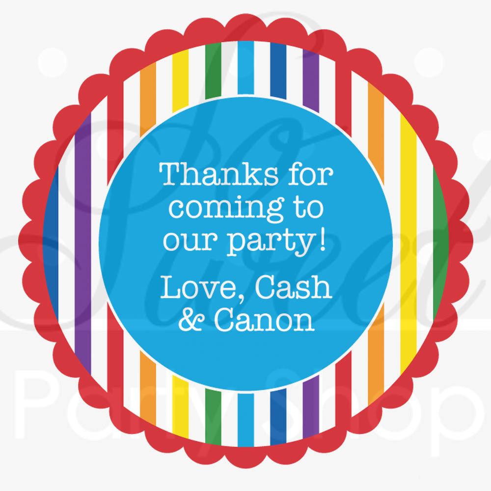 24 Birthday Favor Sticker Labels - Rainbow Theme - Personalized ...