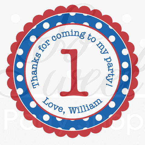 24,Birthday,Stickers,Favor,Labels,-,Boys,1st,Primary,Colors,Polkadots,Personalized,favor sticker labels, party favors birthday stickers, party favor bag stickers, containers labels, envelope seals, party decor labels