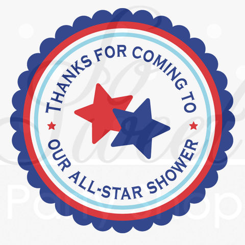 Boys,Baby,Shower,Favor,Sticker,Labels,Sports,All,Star,-,Red,,White,and,Blue,Set,of,24,sports baby shower, all star baby shower, baby shower favors, favor sticker labels, party favors birthday stickers, party favor bag stickers, containers labels, envelope seals, party decor labels