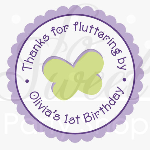 24,Favor,Sticker,Labels,-,Girls,Birthday,Flowers,and,Butterflies,Pink,Purple,favor sticker labels, party favors birthday stickers, party favor bag stickers, containers labels, envelope seals, party decor labels