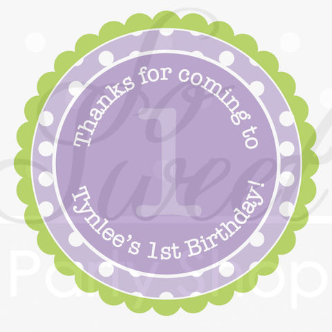 24,Favor,Sticker,Labels,-,Polkadots,Lavender,Purple,and,Lime,Green,Girls,Birthday,Party,Decorations,favor sticker labels, party favors birthday stickers, party favor bag stickers, containers labels, envelope seals, party decor labels