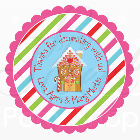24,Gingerbread,Birthday,Favor,Sticker,Labels,-,Personalized,Stickers,Holiday,Party,Favors,favor sticker labels, party favors birthday stickers, party favor bag stickers, containers labels, envelope seals, party decor labels