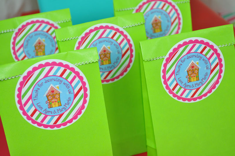 24 Gingerbread Birthday Favor Sticker Labels - Personalized ...