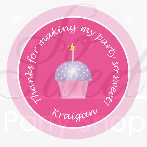 24,Girl's,1st,Birthday,Stickers,-,Cupcake,Theme,Pink,and,Purple,Personalized,favor sticker labels, party favors birthday stickers, party favor bag stickers, containers labels, envelope seals, party decor labels