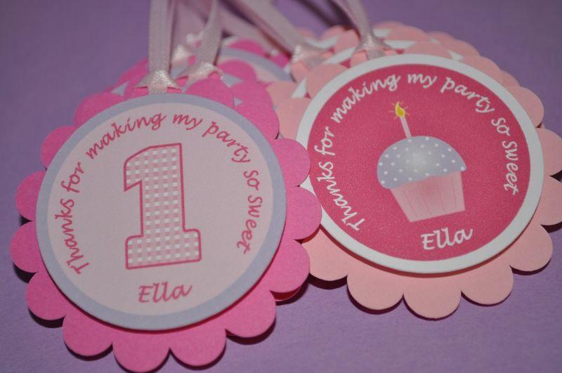 24 Girl's 1st Birthday Stickers - Cupcake Theme - Pink and Purple ...