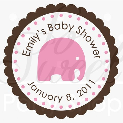 24,Girls,Baby,Shower,Favor,Sticker,Labels,-,It's,a,Girl,Elephant,Theme,Pink,and,Brown,favor sticker labels, party favors birthday stickers, party favor bag stickers, containers labels, envelope seals, party decor labels