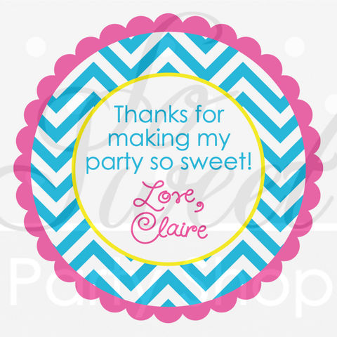 24,Girls,Birthday,Favor,Sticker,Labels,-,Chevron,Decorations,with,Polkadots,Teal,,Pink,,Yellow,favor sticker labels, party favors birthday stickers, party favor bag stickers, containers labels, envelope seals, party decor labels