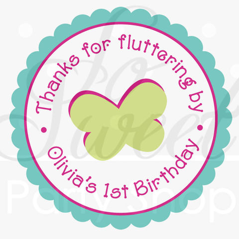 24,Girls,Birthday,Favor,Sticker,Labels,-,Flowers,and,Butterflies,Pink,,Blue,,Green,favor sticker labels, party favors birthday stickers, party favor bag stickers, containers labels, envelope seals, party decor labels