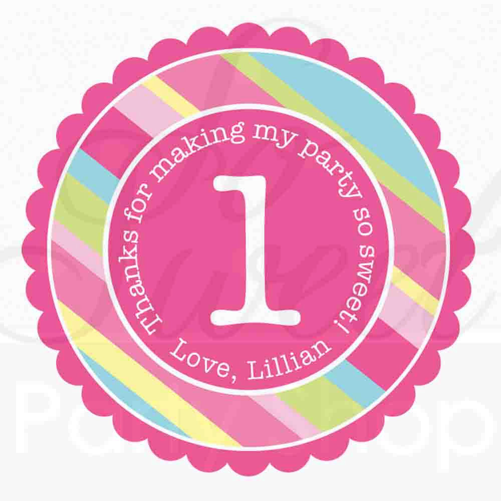 24 Girl's Birthday Party Favor Sticker Labels - Personalized ...