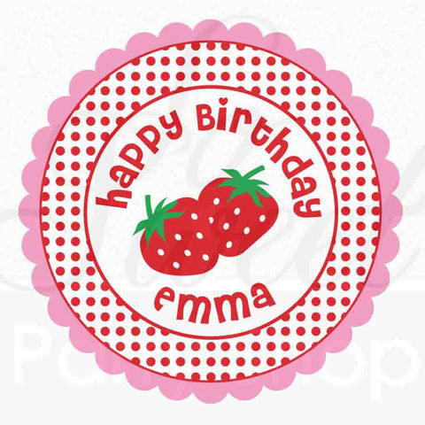 24,Girls,Birthday,Personalized,Stickers,-,Party,Favors,,Decorations,Strawberry,favor sticker labels, party favors birthday stickers, party favor bag stickers, containers labels, envelope seals, party decor labels