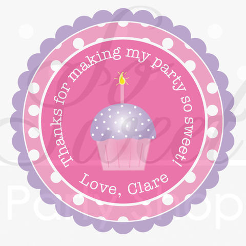 24,Girls,Birthday,Stickers,-,Polkadots,Pink,,Lavender,with,Cupcakes,Party,Decorations,favor sticker labels, party favors birthday stickers, party favor bag stickers, containers labels, envelope seals, party decor labels