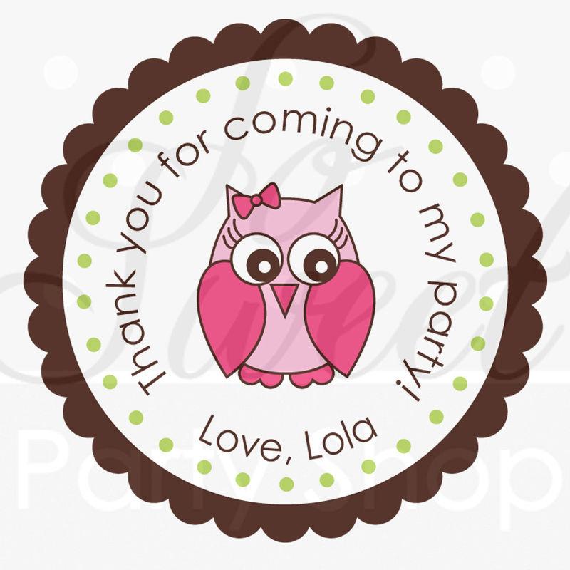 24 Owl Birthday Stickers Girls Birthday Decorations Woodland